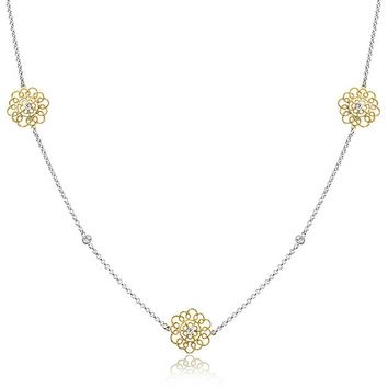 2 Tone Filigree Flower Chain Necklace 14K Gold Plated Sterling Silver