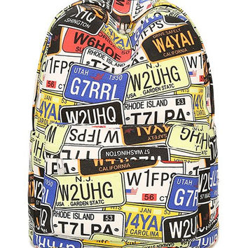 Zip Plate Letter Print Canvas Backpack