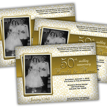 Ornate Photo 50th Wedding Anniversary Party Invitations - 50th Wedding Invitation - 50th Wedding Party Ideas - Vow Renwal Wedding Gold