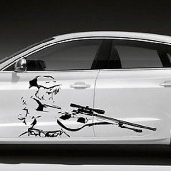 ANIME SEXY HOT GIRL WITH RIFLE MANGA  DESIGN CAR VINYL STICKER GRAPHICS D1520