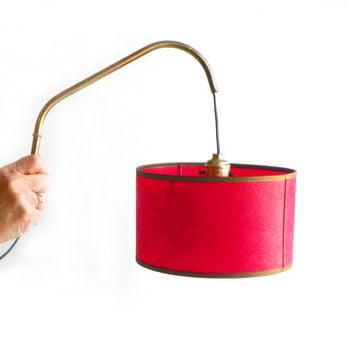 Mid Century Pull Down Light W/ Red Shade