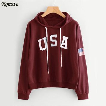 USA Flag Printed Hoodie Burgundy Drawstring Women Hooded Sweatshirt Autumn New Pullovers Graphic Casual Hoodies