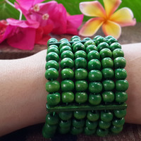 Green Elastic Bracelet Wood Beaded Mala Style Fair Trade