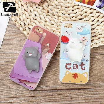 TAOYUNXI Squishy Cover Case for iPhone 5 5S SE Case Painted Silicone TPU Cat Claw for iPhone 6 6S Plus 7 7 Plus Squishy Cover