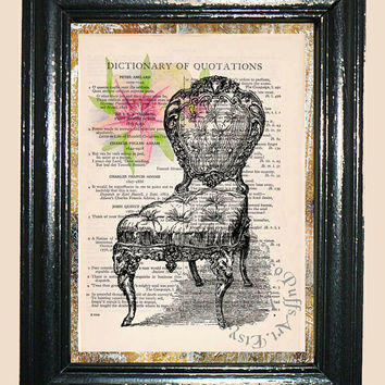 Antique Cushioned Chair with Pink Lily Flower - Vintage Dictionary Book Page Art Print Beautiful Upcycled Book Art Mixed Media Art