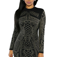 Black Studded Long Sleeves Dress