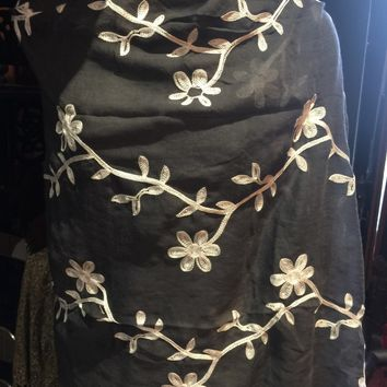 Vitage Styled Sheer black flower embroidered wrap Shawl