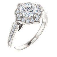Cubic Zirconia Engagement Ring- The Faida (Customizable Cathedral-set Round Cut Design with Halo and Milgrained Pavé Band)