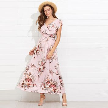 Multicolor Ruffle Embellished Shirred Waist Floral Maxi Dress V Neck Cap Sleeve Butterfly Sleeve Dresses