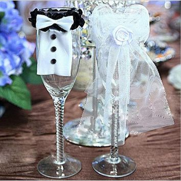 DCCKIX3 2Pcs Cute Bride & Groom Bow Tux Bridal Veil Wedding Party Toasting Wine Glasses Decor = 1930080516