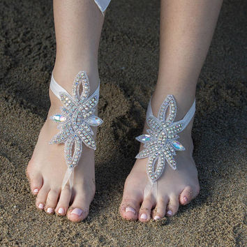 Rhinestone Barefoot Sandals, FREE SHIPPING Beach Wedding Barefoot Sandals, Beach Shoes Beach Sandals,  Bridal Anklet,  Flexible Ankle