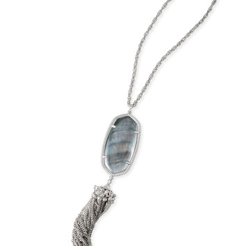 Kendra Scott Rayne Black Mother of Pearl Silver Necklace with Tassel