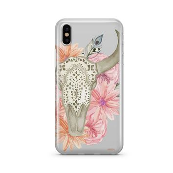 Floral Bull Skull  - Clear iPhone or Samsung Case Cover