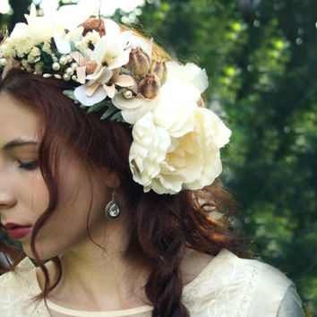 Bridal flower crown floral crown Rustic bridal tiara boho hippie flower halo wreath Woodland wedding flower crown elven flower headband EVA