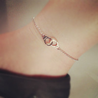 Handcuff 'Freedom' Anklet - Silver Plated, Chain, Extendible