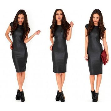Women's sexy hot fashion wet look faux leather midi sheath skinny dress outfit style