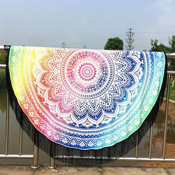 ONETOW 150cm Round Beach Towel colorful Printed Beach Throw Mandala Towel Yoga Mat Beach dress Baby Blanket Travel Round with Tassels