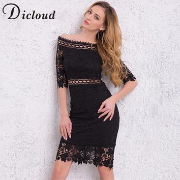 DICLOUD 2018 Summer Women Dresses Slash Neck Half Sleeve Lace Hollow Out Sexy Elegant Midi Dress Bodycon Vestidos SAB0363688