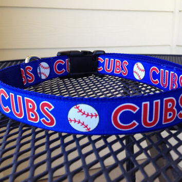 Dog Collar Made from Cubs Baseball Ribbon by SweetKeeps on Etsy