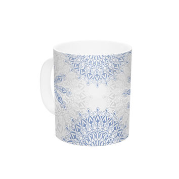 "Julia Grifol ""Mandalas In Blue"" Vector Geometric Ceramic Coffee Mug"
