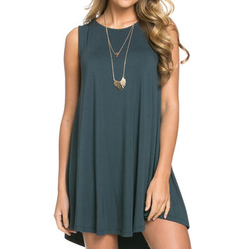 Modern High Low Mini Dress Teal