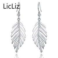 LicLiz New Unique Design 925 Sterling Silver Spring Leaves Drop Earrings Fish Hook Ethnic Fashion Jewelry For Women Party LE0250