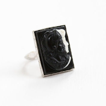Ostby Barton Double Cameo Art Deco Ring