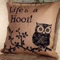 Life's A Hoot - Cotton Burlap Throw Pillow - 16-in x 16-in