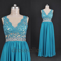 Custom Blue Beads Applique Long Prom Dresses Fashion Evening Dresses Bridesmaid Dresses 2014 Formal Party Dress Evening Gowns Cocktail Dress