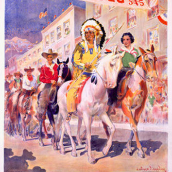 Northern Pacific Railroad Rodeo Parade by Edward Vincent Brewer Fine Art Print