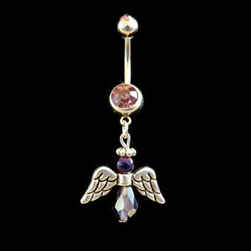 Angel Belly Ring with Pink Rhinestone Body Jewelry