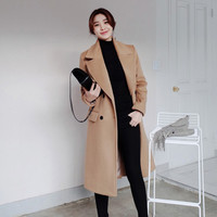 Double-Breasted Woolen Coat from shopyukii