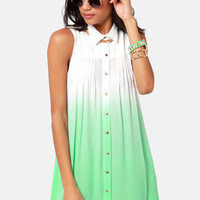 Mink Pink Great White Mint Green Ombre Shirt Dress