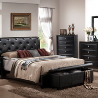 5 pc Pemberton collection deep espresso finish wood queen black faux leather tufted upholstered headboard bed set