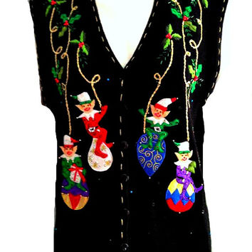 80s Ugly Christmas Sweater Slouchy QUIRKY Novelty Cardigan VEST Elf Ornament Holiday Beaded Kitschy Embroidered Embellished M L