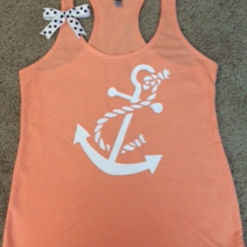 Anchor Tank - Racerback Tank - Terry Tank - Fitness Tank - Gym Tank - Workout Tank - Workout Clothes