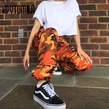 Orange Pink Camouflage Cargo Pants Men Women 2017 High Quality Hip Hop Streetwear Joggers Pants Couple Camo Sweatpants Clothes