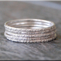 Set of 5, 14k White Gold Twig Ring, Bark Texture Ring, 14k WG Stacking Ring, Sterling Silver Thin Stackable Ring, Woodland Ring, White Gold