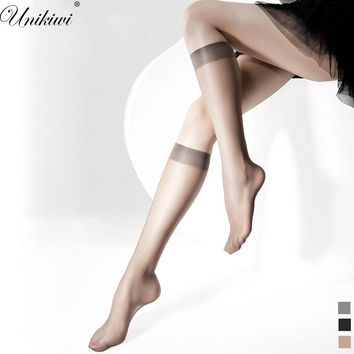 2 Pairs/Lot.Women's Breathable Thin Knee-High In tube Socks.Transparent Solid Color Mid Calf Silk Socks Ladies Mesh Sox.3 colors