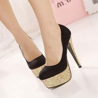 Trendy Women's Shiny High Platform Heel Suede Stilettos Classic Pump Court Shoes