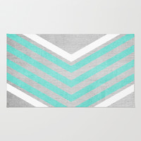 Teal and White Chevron on Silver Grey Wood Rug by Tangerine-Tane