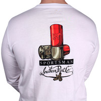 SPC Signature Long Sleeve Tee in White featuring a Shotgun Shell by Southern Point Co.