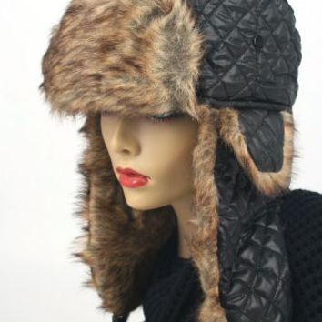 Women's Trapper Quilted Winter Ear Flap Hat 901HT (Black)