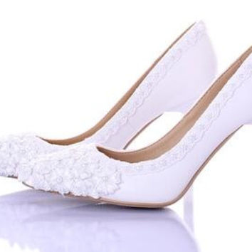 ... preview of dc9da 38d91 Flowers slipper diamond bride shoes high heels  for womens point ... 79a6dd448