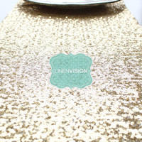 Table Runner - Glitz Sparkly Sequins - BRGHT GOLD- Choose Any Size - Event Home Decor Glam Sparkle Gatsby Party Cake Tablecloth Linen Overla
