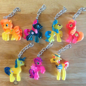 My Little Pony Keychains + Collectors Cards [19 Ponies Available] - Neon Bright - Friendship is Magic FIM - re-purposed toys