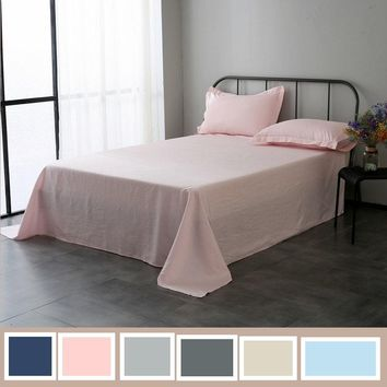 3pcs /lot Multicolor 100% Pure Linen Flat Sheets sets Waterwash Linen bedding Good Handfeel Free Shipping