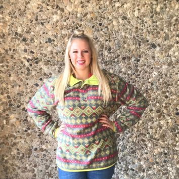 Green & Pink Aztec Southern Marsh Pullover
