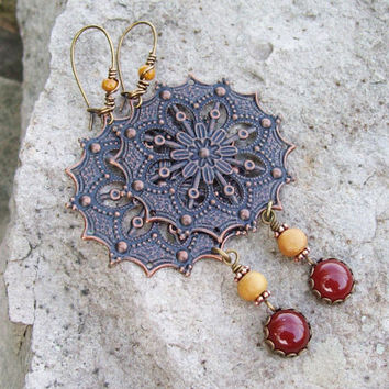 Copper Filigree Mandala Dangle Earrings with Carnelian Cabochon Drops - Rustic  Earrings