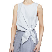 Tibi Stripe Shirting Crop Tie Top